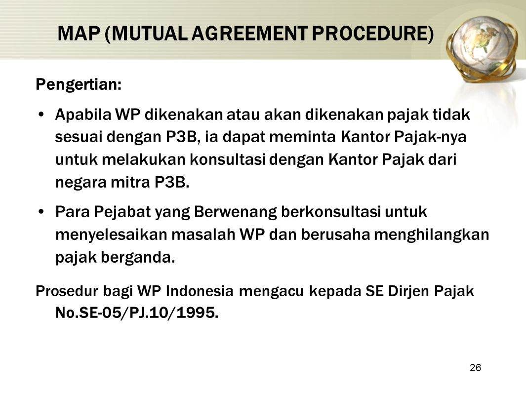 MAP (MUTUAL AGREEMENT PROCEDURE)