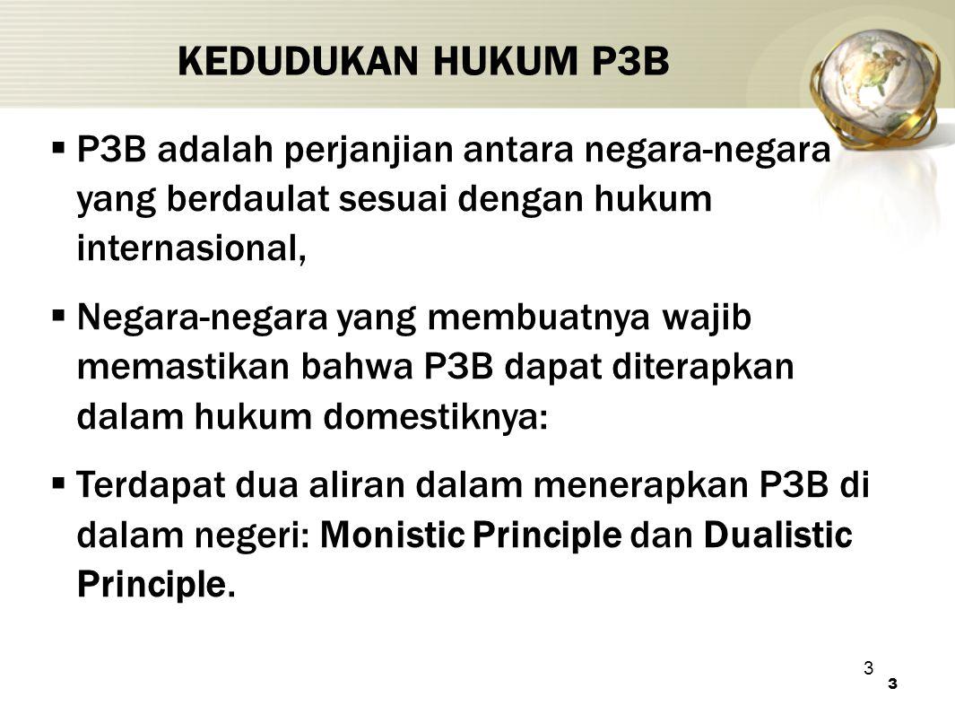 IHT KEDUDUKAN HUKUM P3B. P3B adalah perjanjian antara negara-negara yang berdaulat sesuai dengan hukum internasional,