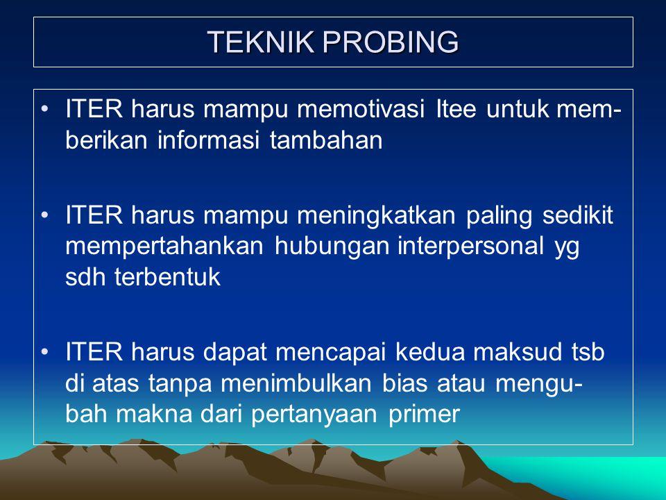 TEKNIK PROBING ITER harus mampu memotivasi Itee untuk mem- berikan informasi tambahan.