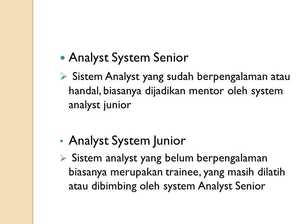 Analyst System Senior Sistem Analyst yang sudah berpengalaman atau handal, biasanya dijadikan mentor oleh system analyst junior.