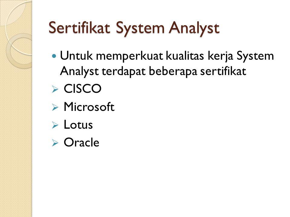 Sertifikat System Analyst