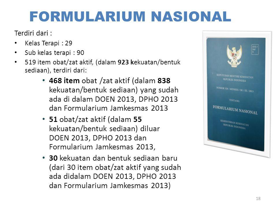 FORMULARIUM NASIONAL Terdiri dari : Kelas Terapi : 29. Sub kelas terapi : 90.
