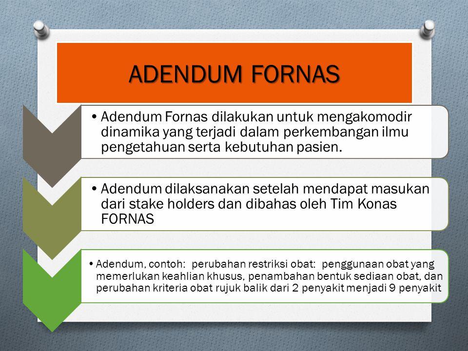 ADENDUM FORNAS Adendum Fornas dilakukan untuk mengakomodir dinamika yang terjadi dalam perkembangan ilmu pengetahuan serta kebutuhan pasien.