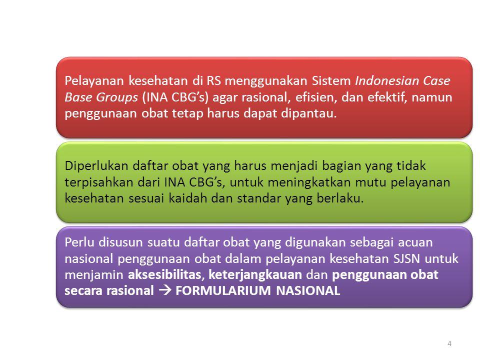 Pelayanan kesehatan di RS menggunakan Sistem Indonesian Case Base Groups (INA CBG's) agar rasional, efisien, dan efektif, namun penggunaan obat tetap harus dapat dipantau.