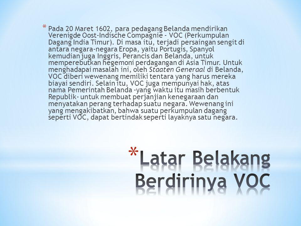 Latar Belakang Berdirinya VOC