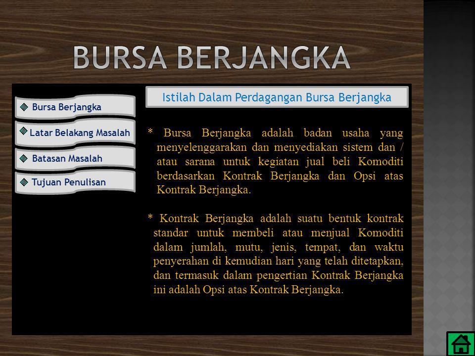 Istilah Dalam Perdagangan Bursa Berjangka