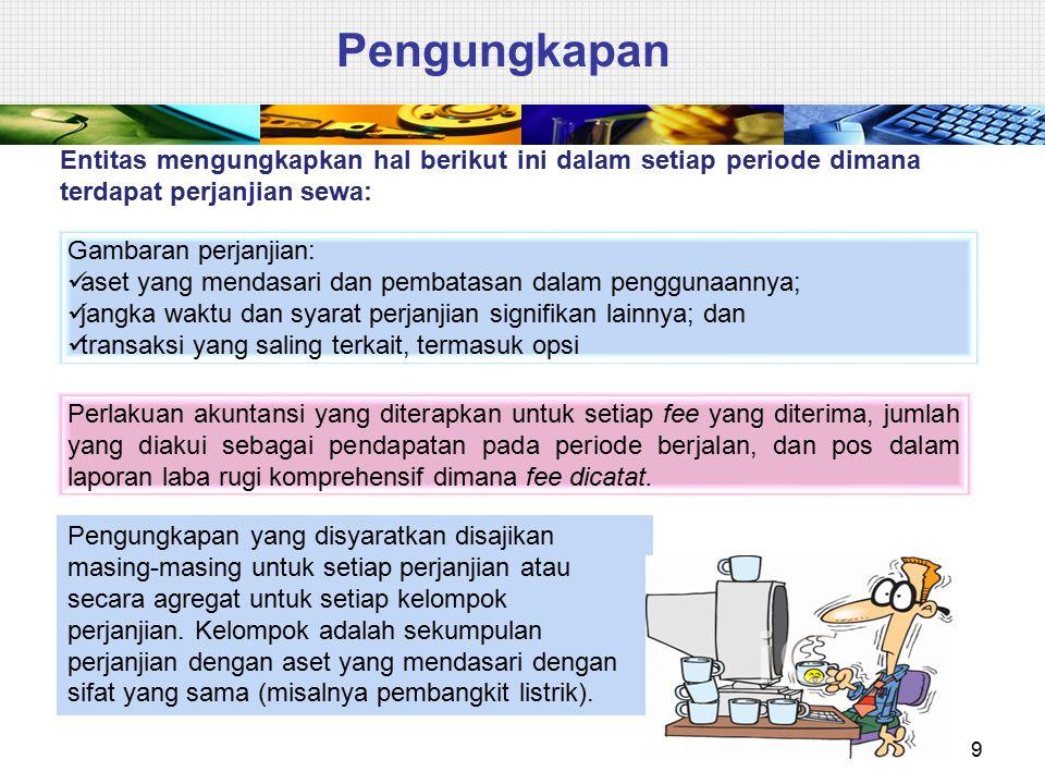 Pengungkapan Entitas mengungkapkan hal berikut ini dalam setiap periode dimana terdapat perjanjian sewa: