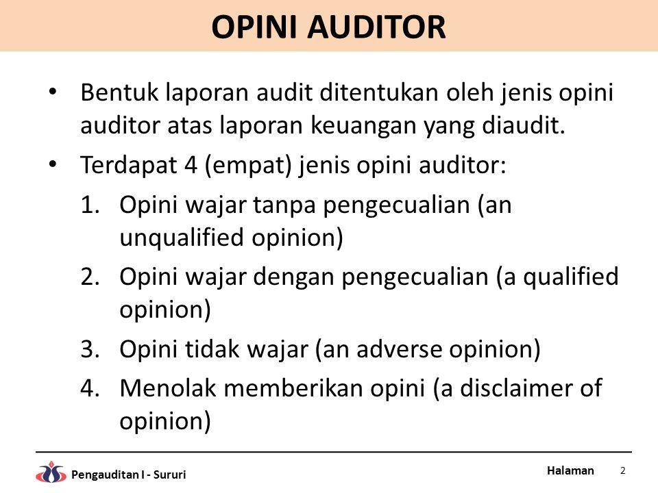 OPINI AUDITOR Bentuk laporan audit ditentukan oleh jenis opini auditor atas laporan keuangan yang diaudit.