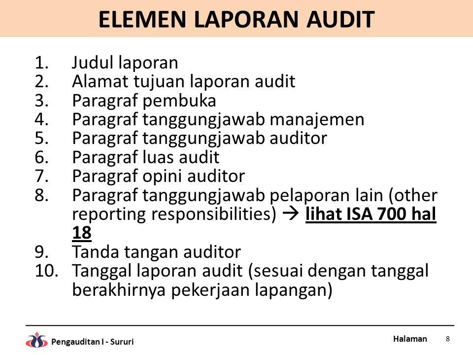 ELEMEN LAPORAN AUDIT Judul laporan Alamat tujuan laporan audit
