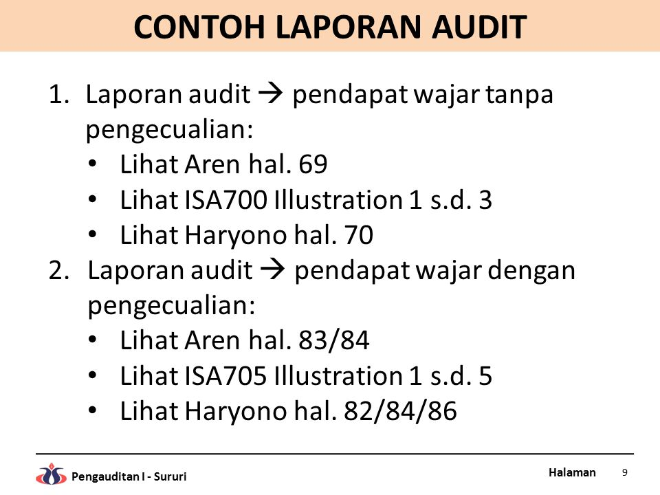 CONTOH LAPORAN AUDIT Laporan audit  pendapat wajar tanpa pengecualian: Lihat Aren hal. 69. Lihat ISA700 Illustration 1 s.d. 3.
