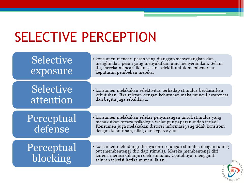 SELECTIVE PERCEPTION Selective exposure Selective attention