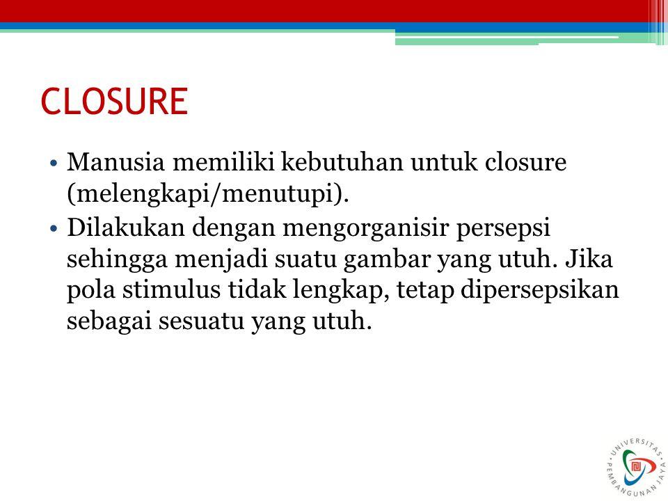 CLOSURE Manusia memiliki kebutuhan untuk closure (melengkapi/menutupi).