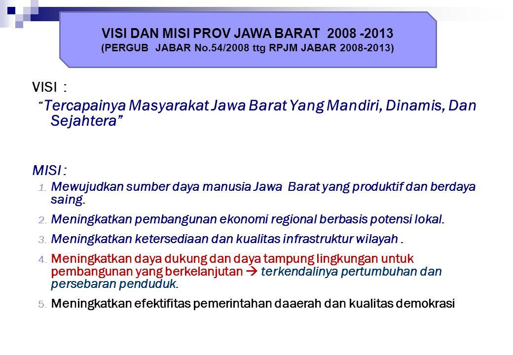 VISI : MISI : VISI DAN MISI PROV JAWA BARAT 2008 -2013