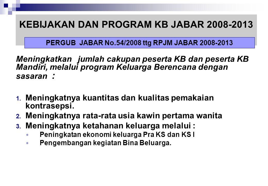 KEBIJAKAN DAN PROGRAM KB JABAR 2008-2013