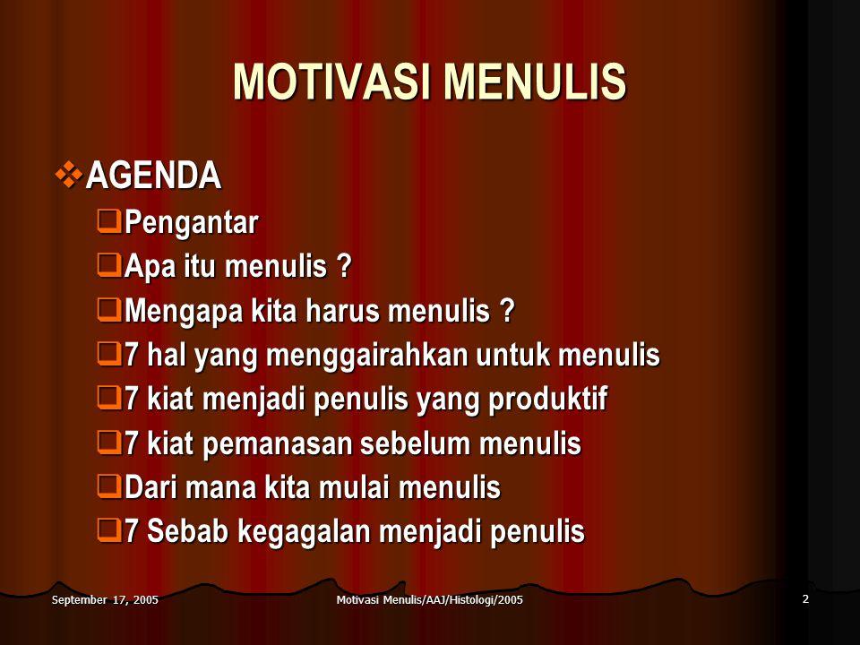 Motivasi Menulis/AAJ/Histologi/2005