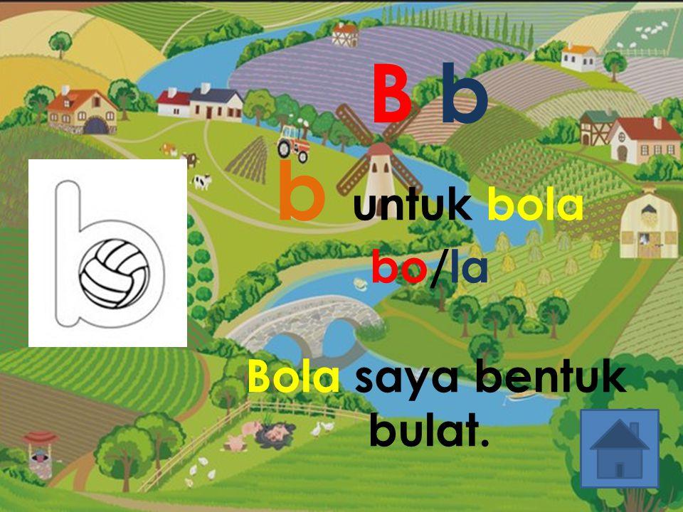 B b b untuk bola bo/la Bola saya bentuk bulat.
