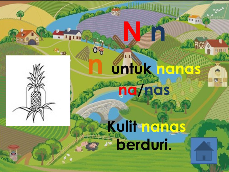N n n untuk nanas na/nas Kulit nanas berduri.