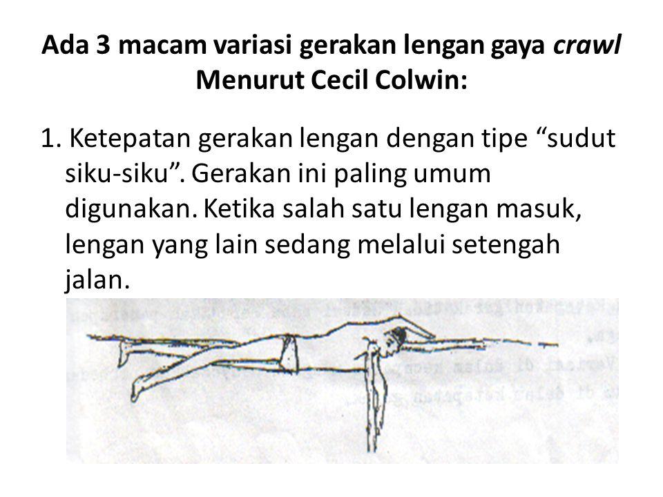 Ada 3 macam variasi gerakan lengan gaya crawl Menurut Cecil Colwin: