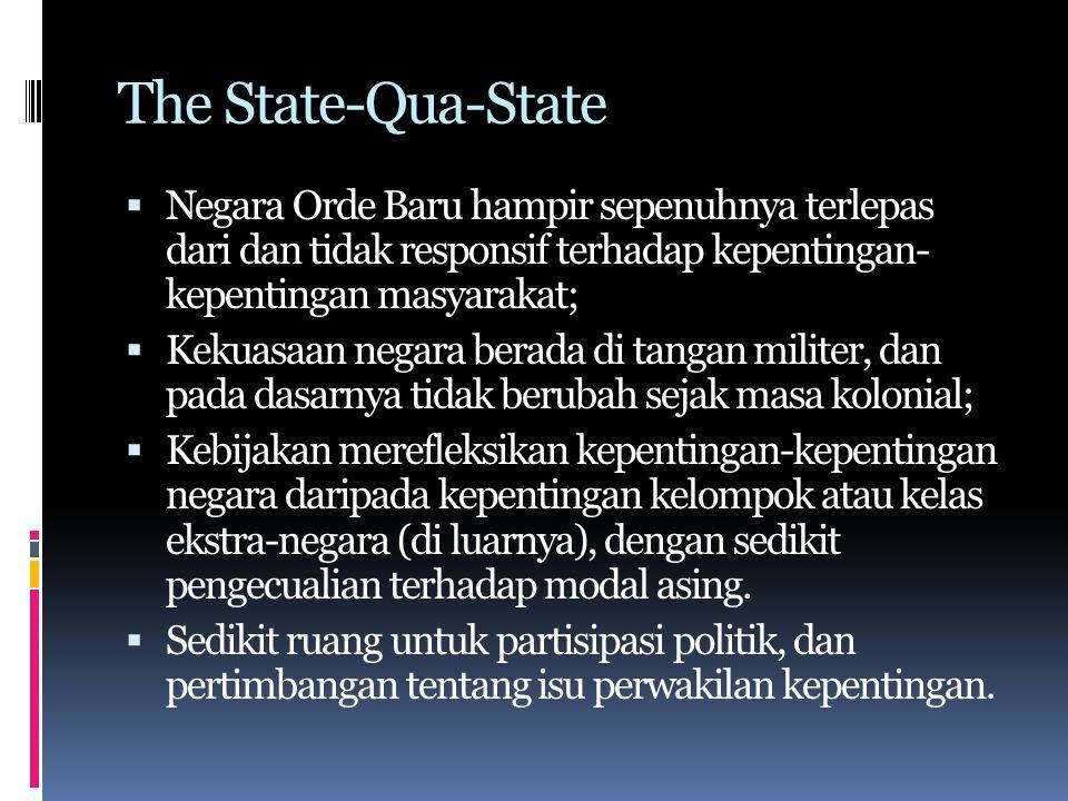 The State-Qua-State Negara Orde Baru hampir sepenuhnya terlepas dari dan tidak responsif terhadap kepentingan- kepentingan masyarakat;