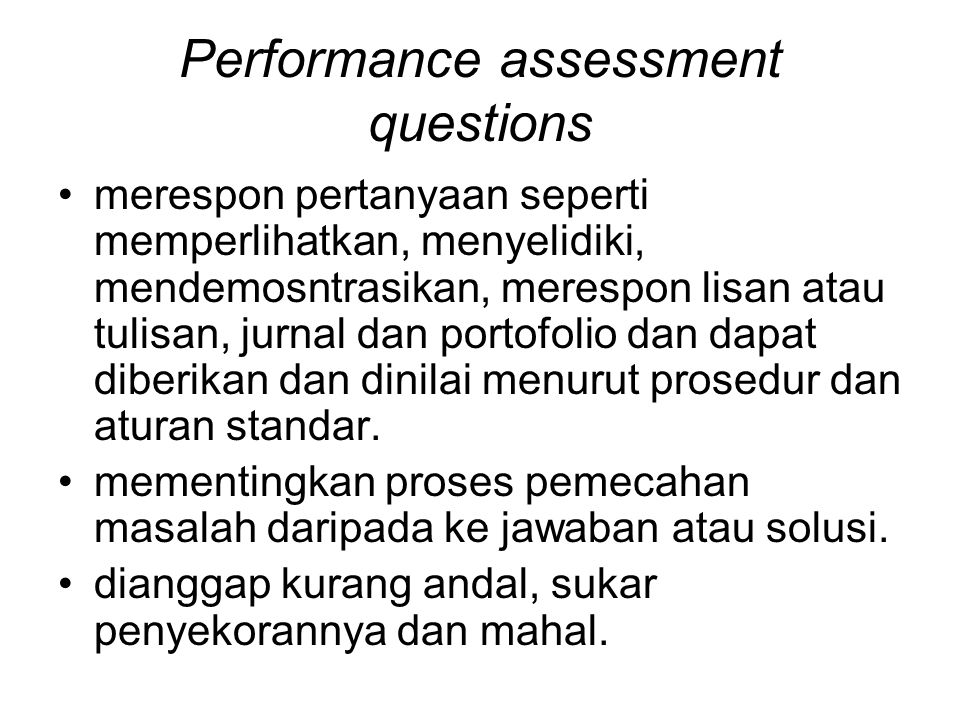 Performance assessment questions