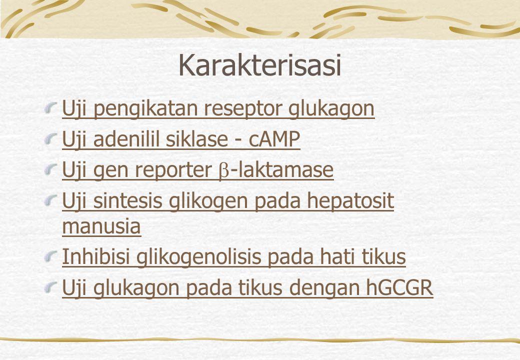 Karakterisasi Uji pengikatan reseptor glukagon