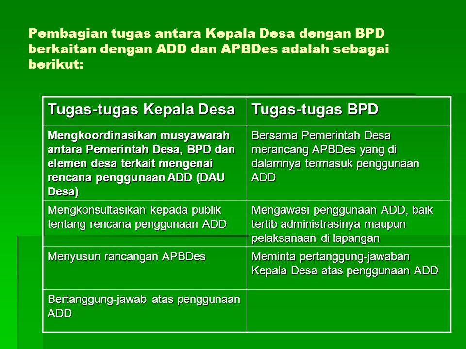 Tugas-tugas Kepala Desa Tugas-tugas BPD