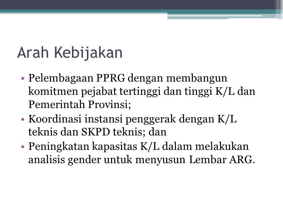 Arah Kebijakan Pelembagaan PPRG dengan membangun komitmen pejabat tertinggi dan tinggi K/L dan Pemerintah Provinsi;