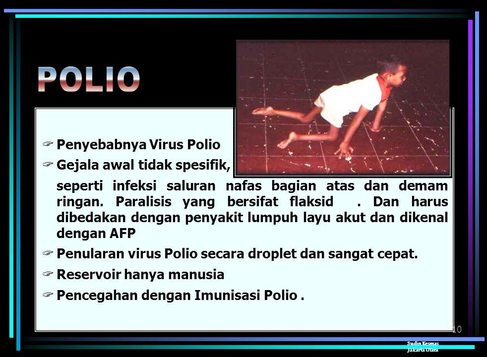 POLIO Penyebabnya Virus Polio Gejala awal tidak spesifik,