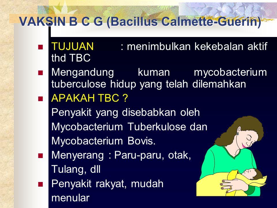 VAKSIN B C G (Bacillus Calmette-Guerin)