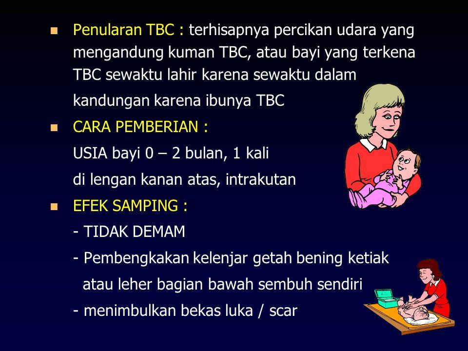 Penularan TBC : terhisapnya percikan udara yang mengandung kuman TBC, atau bayi yang terkena TBC sewaktu lahir karena sewaktu dalam