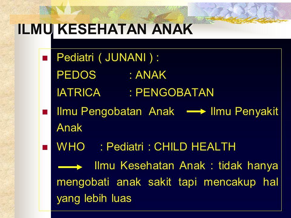 ILMU KESEHATAN ANAK Pediatri ( JUNANI ) : PEDOS : ANAK