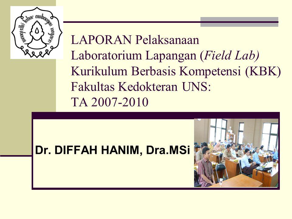 LAPORAN Pelaksanaan Laboratorium Lapangan (Field Lab) Kurikulum Berbasis Kompetensi (KBK) Fakultas Kedokteran UNS: TA 2007-2010
