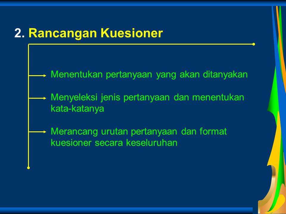 2. Rancangan Kuesioner Menentukan pertanyaan yang akan ditanyakan