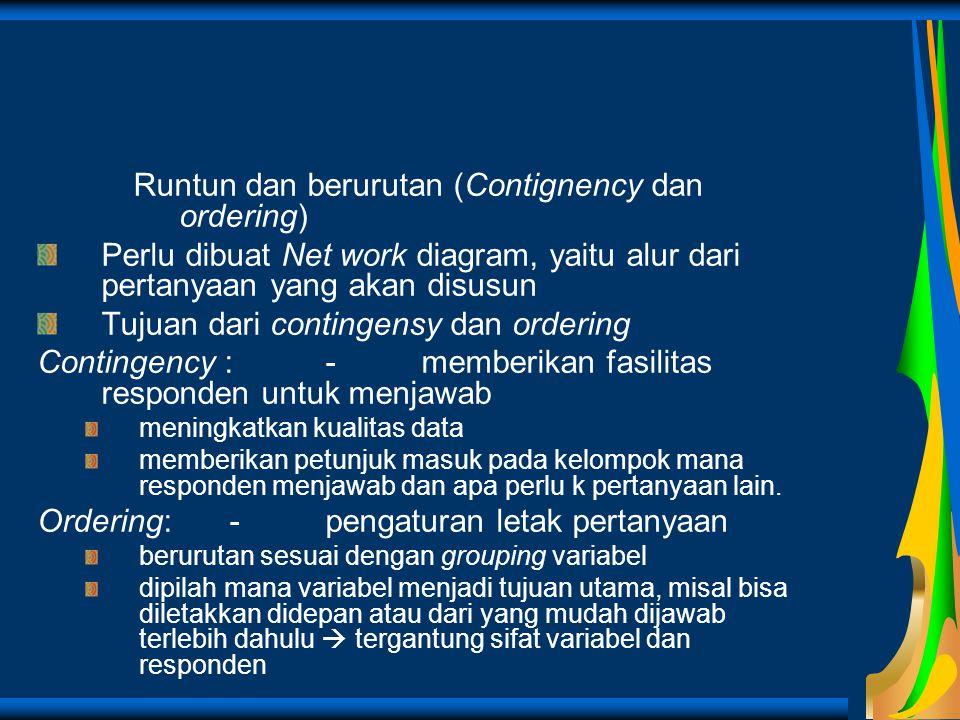 Runtun dan berurutan (Contignency dan ordering)