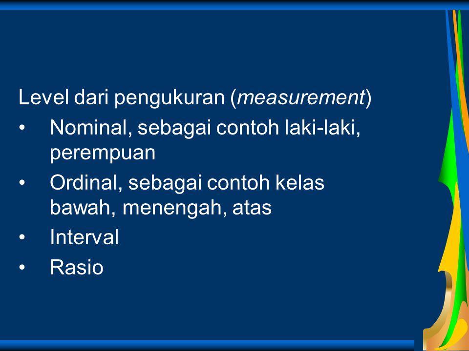 Level dari pengukuran (measurement)