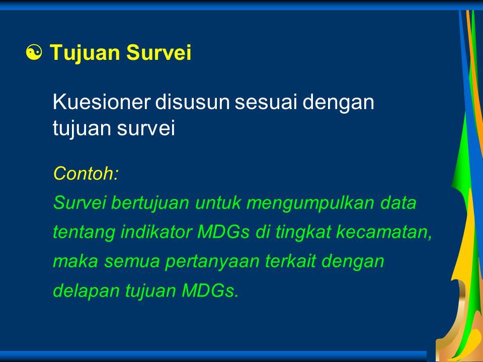 Kuesioner disusun sesuai dengan tujuan survei