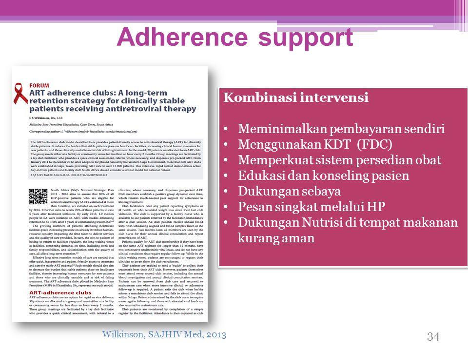Adherence support Kombinasi intervensi Meminimalkan pembayaran sendiri