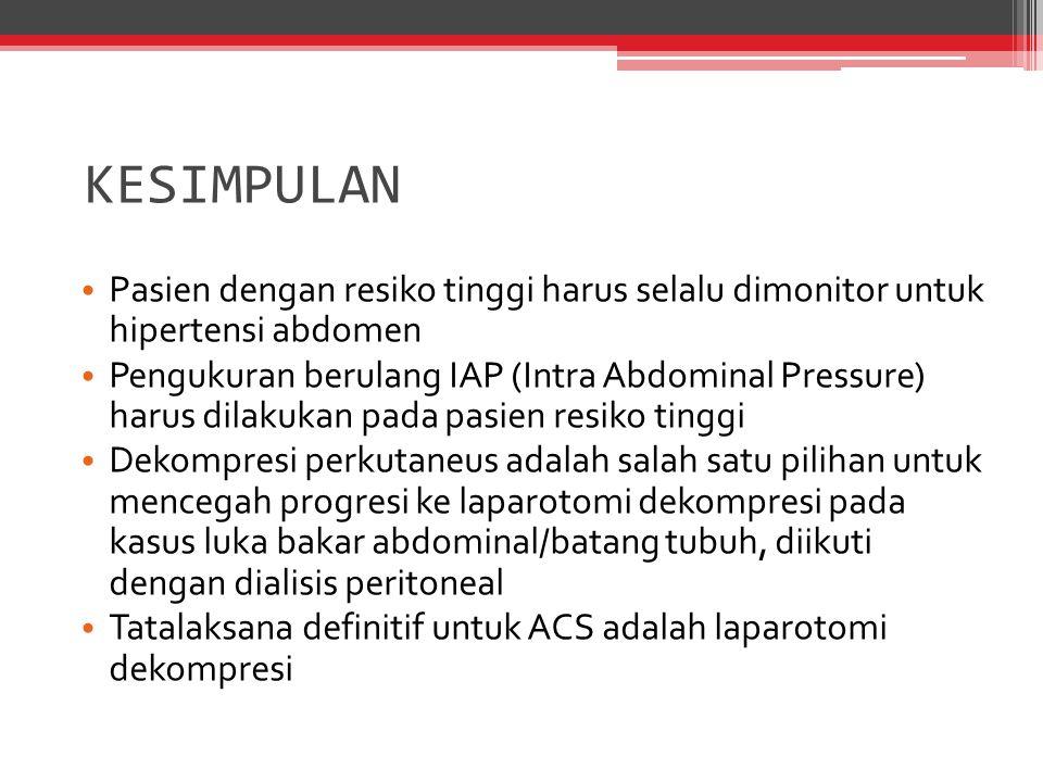 KESIMPULAN Pasien dengan resiko tinggi harus selalu dimonitor untuk hipertensi abdomen.