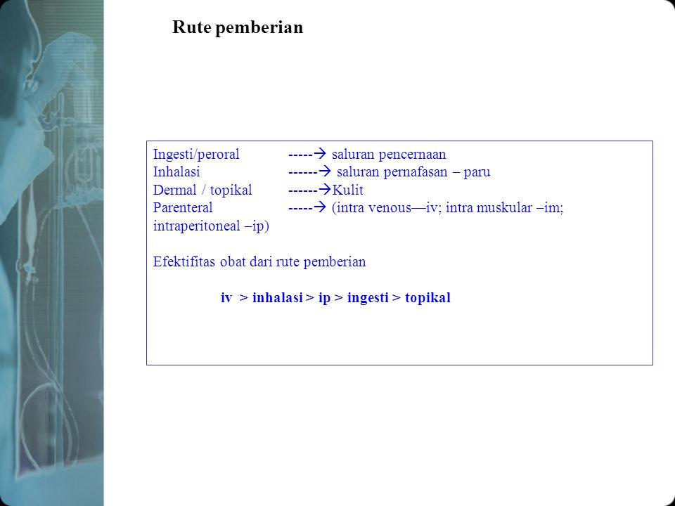 Rute pemberian Ingesti/peroral ----- saluran pencernaan