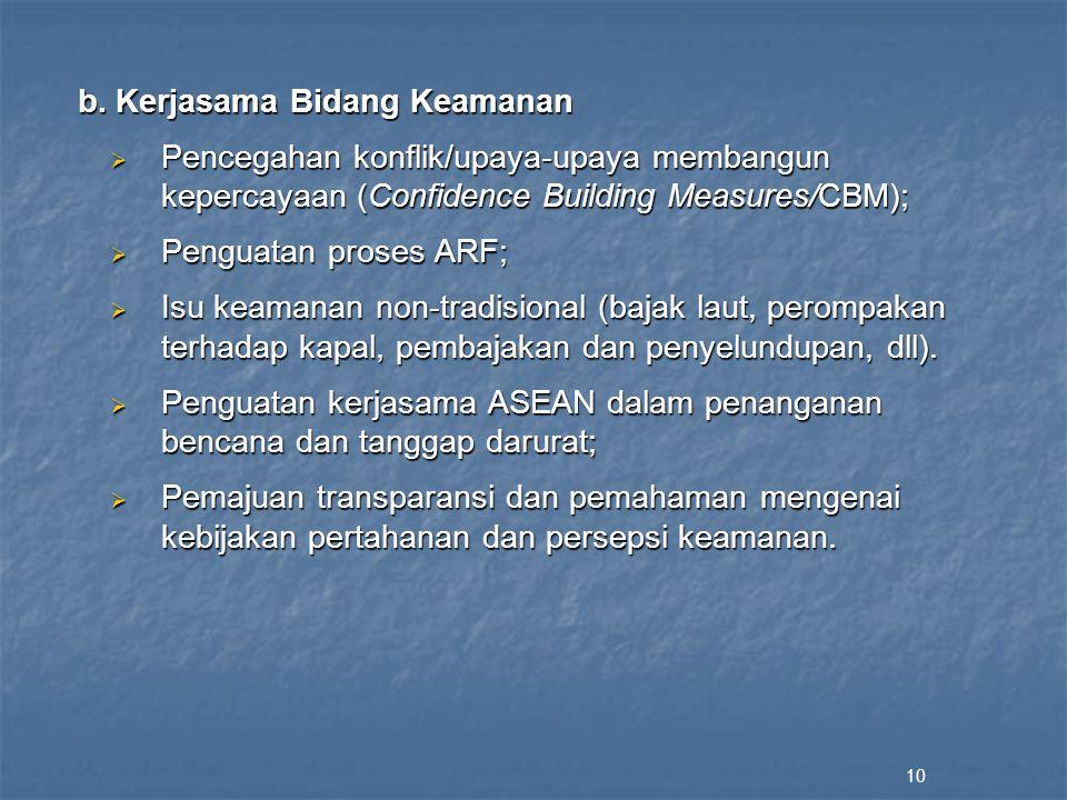 b. Kerjasama Bidang Keamanan