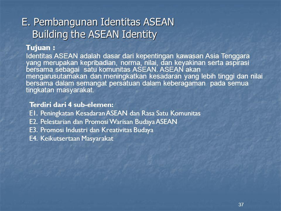 E. Pembangunan Identitas ASEAN Building the ASEAN Identity