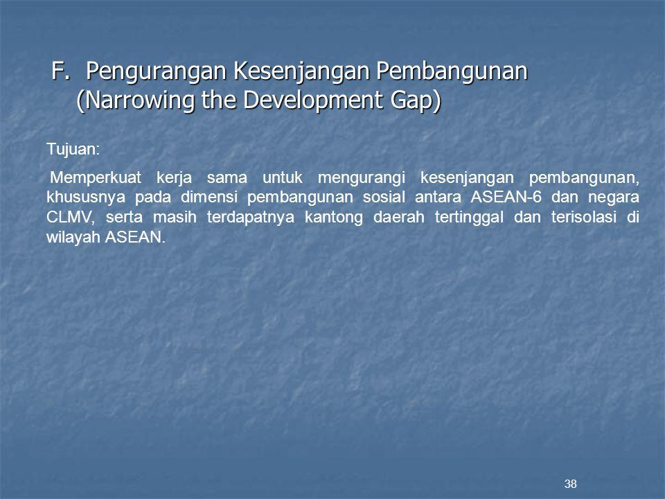 F. Pengurangan Kesenjangan Pembangunan (Narrowing the Development Gap)