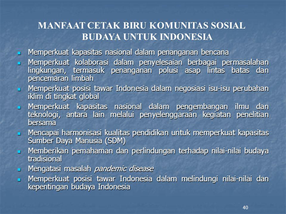 MANFAAT CETAK BIRU KOMUNITAS SOSIAL BUDAYA UNTUK INDONESIA