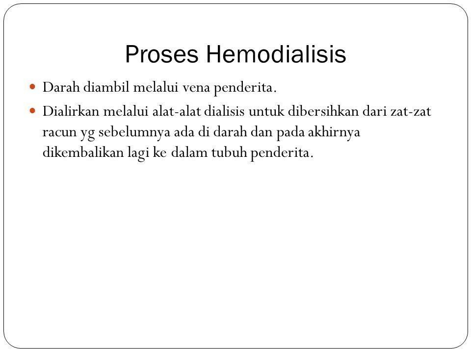 Proses Hemodialisis Darah diambil melalui vena penderita.
