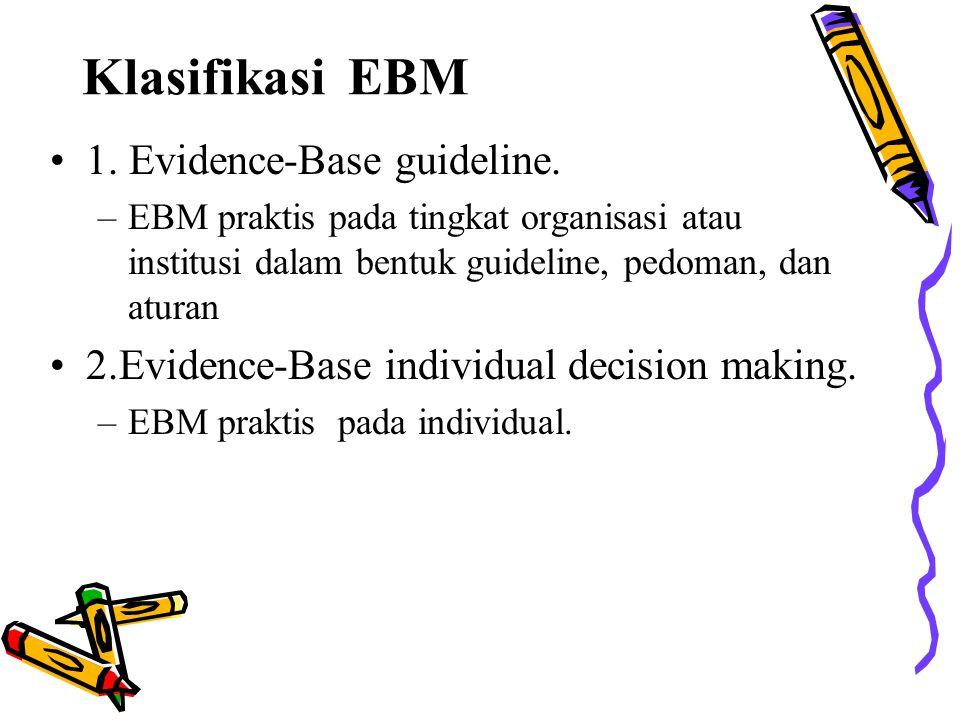 Klasifikasi EBM 1. Evidence-Base guideline.