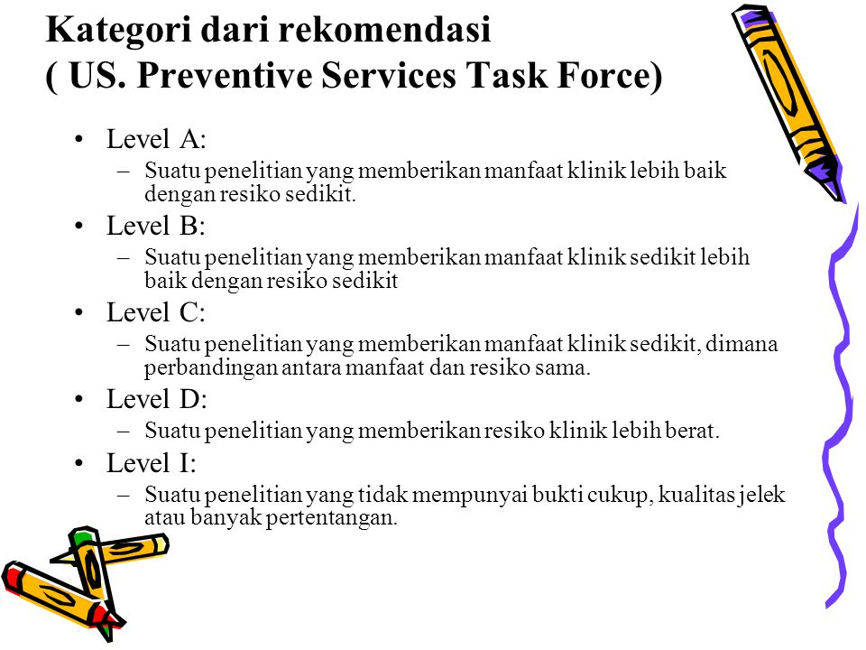 Kategori dari rekomendasi ( US. Preventive Services Task Force)