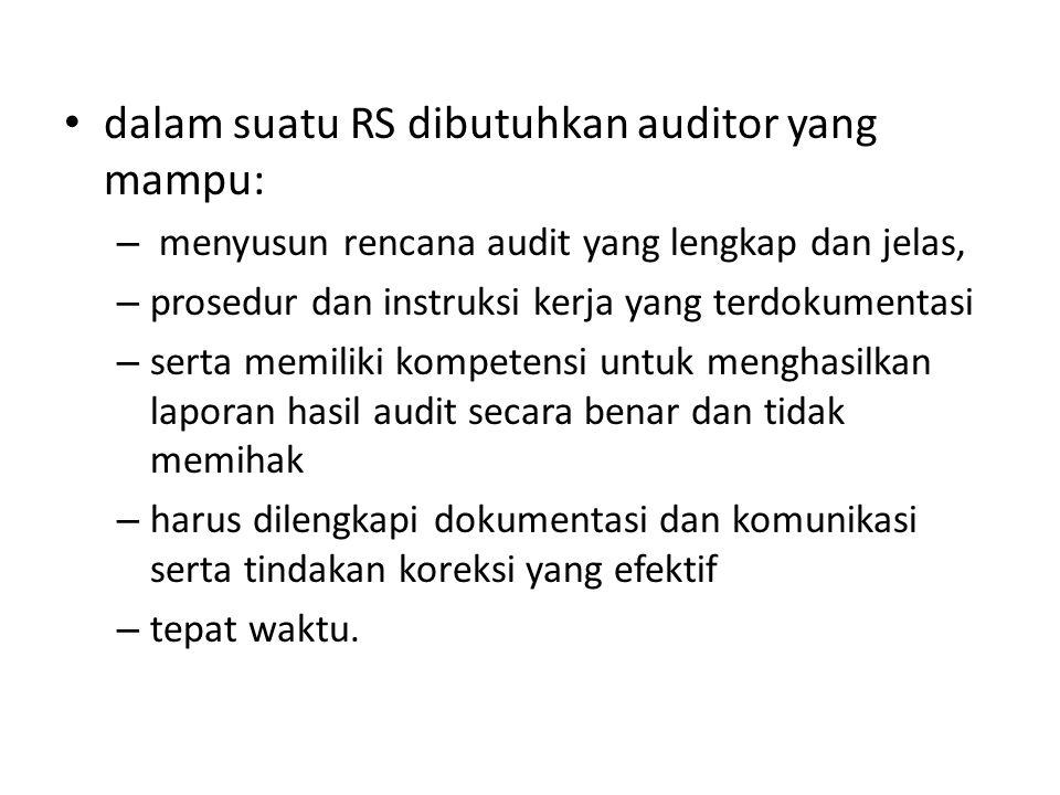 dalam suatu RS dibutuhkan auditor yang mampu: