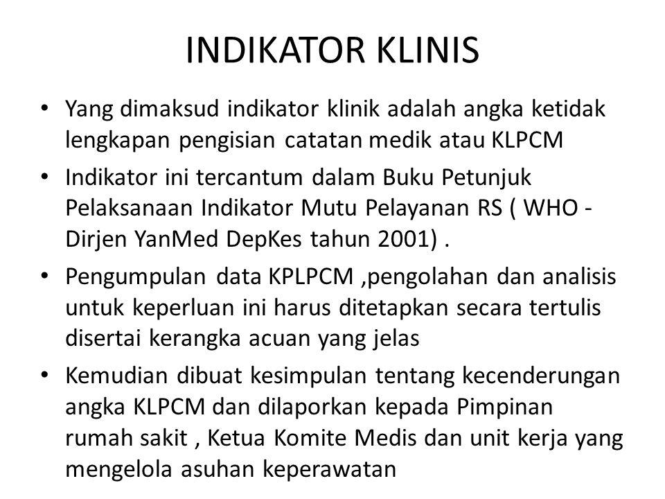 INDIKATOR KLINIS Yang dimaksud indikator klinik adalah angka ketidak lengkapan pengisian catatan medik atau KLPCM.