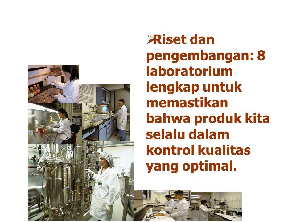 Riset dan pengembangan: 8 laboratorium lengkap untuk memastikan bahwa produk kita selalu dalam kontrol kualitas yang optimal.