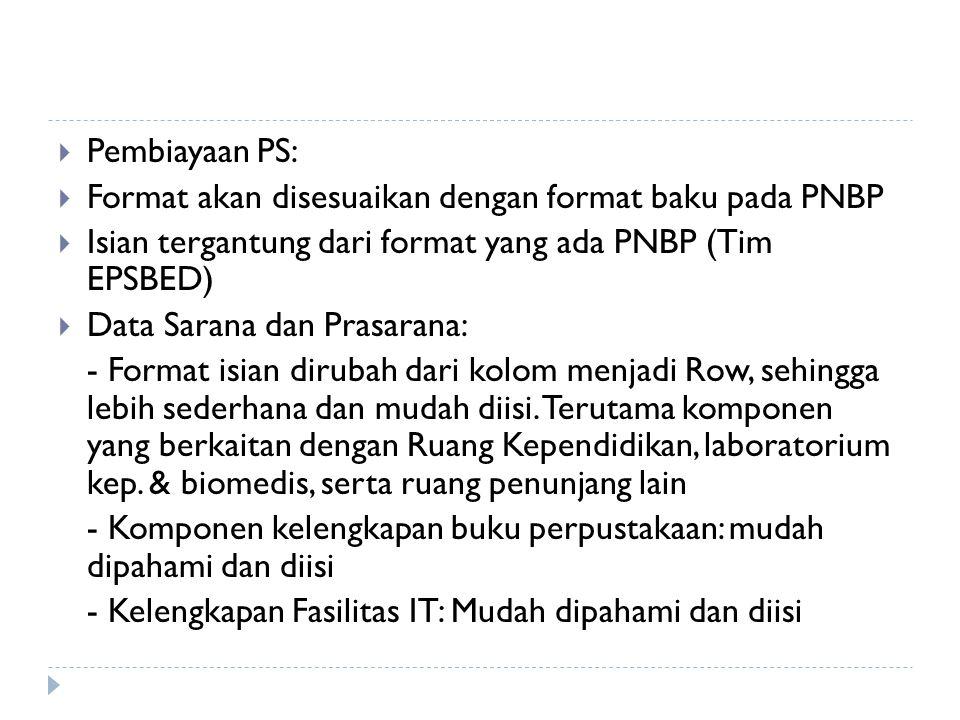 Pembiayaan PS: Format akan disesuaikan dengan format baku pada PNBP. Isian tergantung dari format yang ada PNBP (Tim EPSBED)